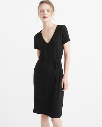 ANF Ribbed V-Neck Midi Dress