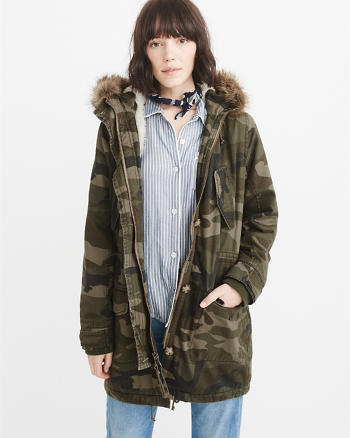 ANF Sherpa-Lined Twill Parka