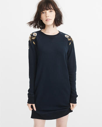 ANF Embroidered Sweatshirt Dress