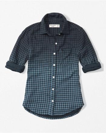 kids plaid dye effect shirt