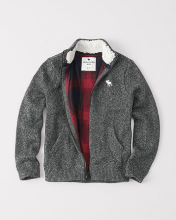 kids flannel-lined zip-up sweater