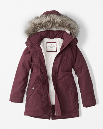 kids sherpa twill parka jacket