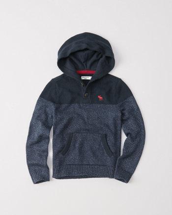 kids sweater henley pullover hoodie