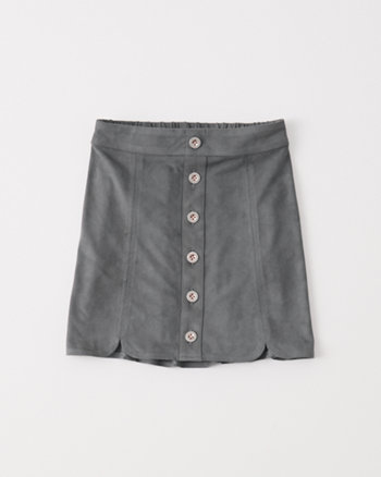 kids faux suede a-line skirt