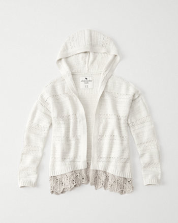kids lace hem hooded cardigan