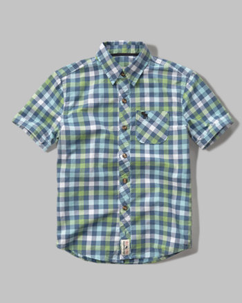 kids short sleeve patterned poplin shirt