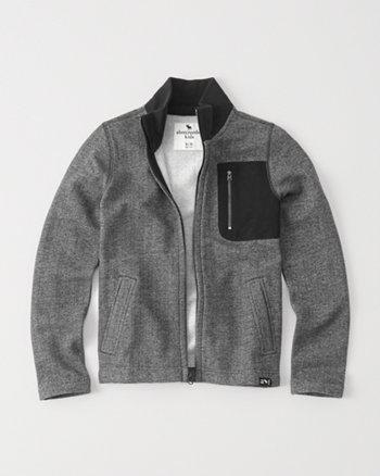 kids herringbone mock full-zip jacket