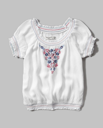 kids embroidered cinched waist peasant shirt