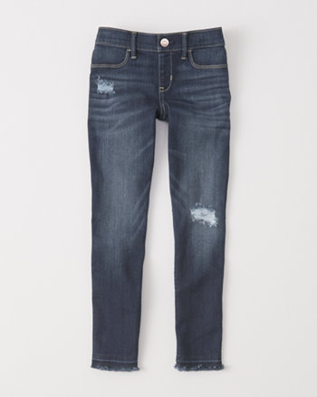 kids ripped pull-on jean ankle leggings
