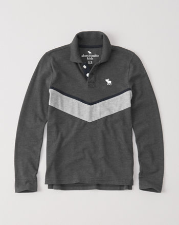 kids chevron stripe long-sleeve polo