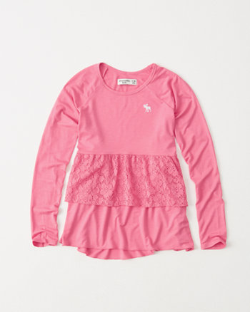 kids tiered lace tee