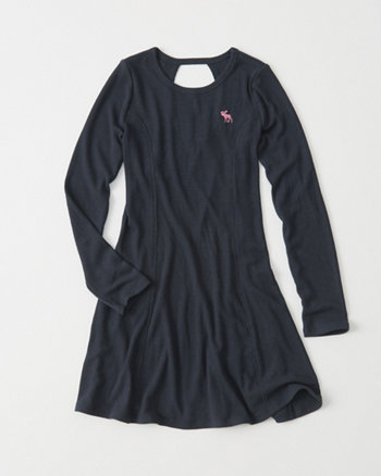 kids Long-Sleeve Ribbed Dress