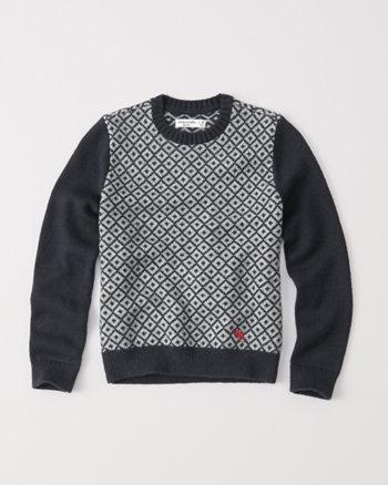 kids color block crew sweater