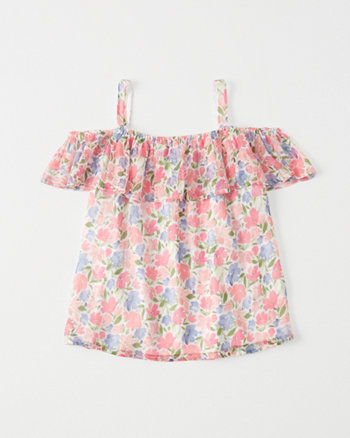 kids Printed Cold-Shoulder Top