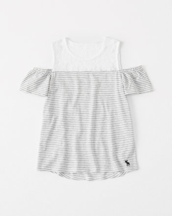 kids lace-panel cold-shoulder tee
