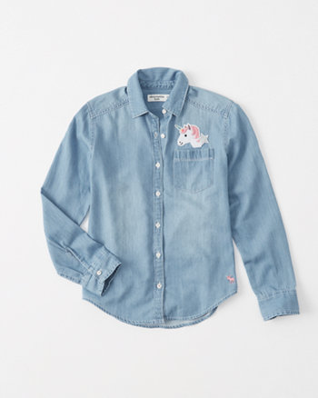 kids patch chambray shirt
