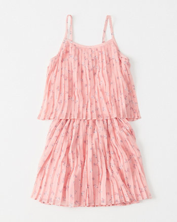 kids pleated chiffon tiered dress