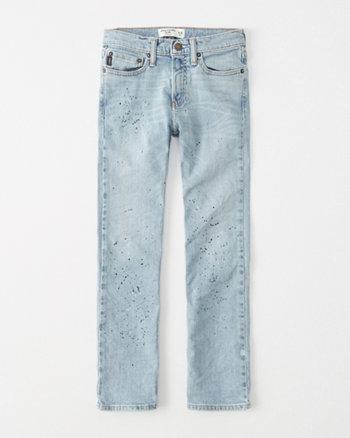 kids paint splatter straight jeans