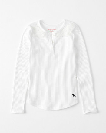 kids lace-accent icon henley