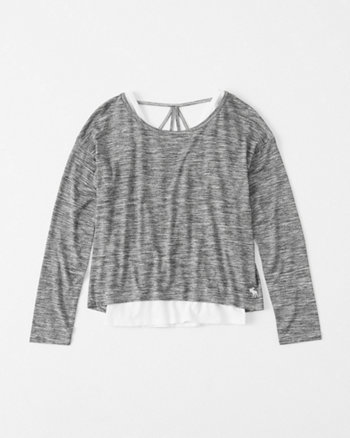 kids strappy-back twofer tee