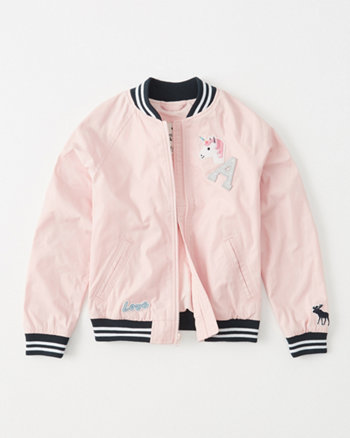 kids patch satin bomber jacket