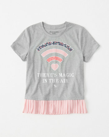 kids chiffon-hem shine graphic tee