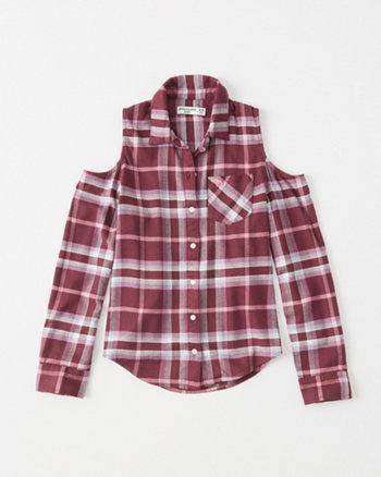 kids cold-shoulder button-up shirt