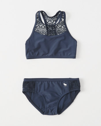 kids lace-panel high-neck two-piece swimsuit