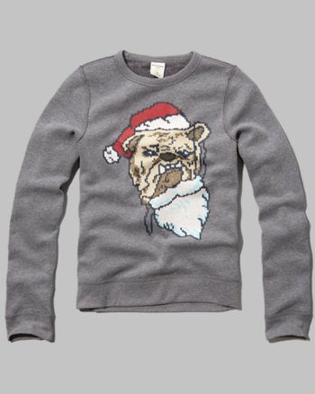 kids bulldog santa sweatshirt