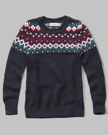 kids patterned crew sweater