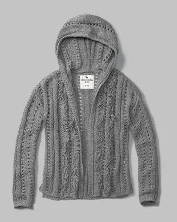 kids fringe-trim hooded cardigan
