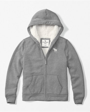 kids sherpa lined zip-up hoodie