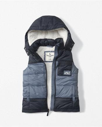 kids sherpa-lined puffer vest