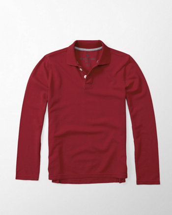 kids solid long sleeve polo
