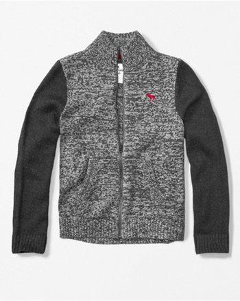 kids zip-up mock neck sweater