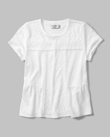 kids lace-accent tee