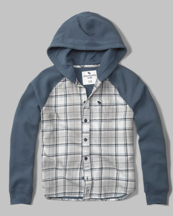 kids flannel-front hoodie